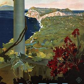 Capri, Italia - Bay of Naples, Italy - Retro travel Poster - Vintage Poster - Studio Grafiikka