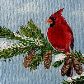 Julie Brugh Riffey - Cardinal on Snowy Branch