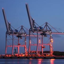 Cargo Cranes At Night by Bradford Martin