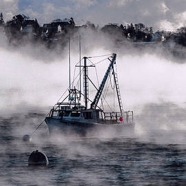 Marty Saccone - Carrie and Kayla Moored in Sea Smoke