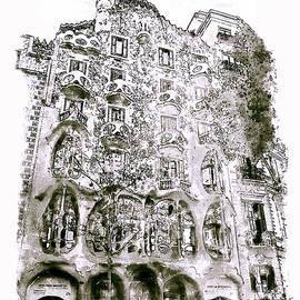 Casa Batllo Barcelona Black and White by Marian Voicu