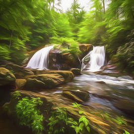 Debra and Dave Vanderlaan - Cascades in the Forest in Summer Painting