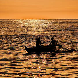 Cast Net Fishing At Sunset by Marcia Colelli