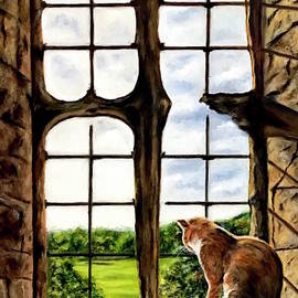 Cat in the Castle Window-Close Up