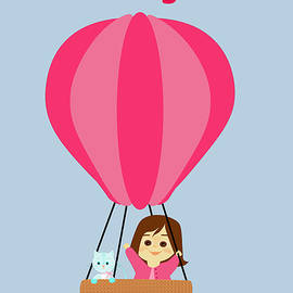 Cathy And The Cat - Hot Air Balloon Text by Laura Greco