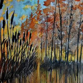 David K Myers - Cattails and Trees Watercolor