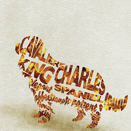 Cavalier King Charles Spaniel Watercolor Painting / Typographic Art - Ayse and Deniz