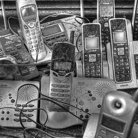 Cell phone call telephone black and white communication