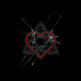 Celtic Knotwork Valentine Heart Broken Glass 1 by Brian Carson