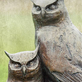 Cemetery Art Two Owls in the Rain - Carol Leigh