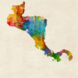 Central America Watercolor Map - Michael Tompsett