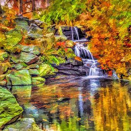 Central Park New York City Waterfall in autumn by Geraldine Scull