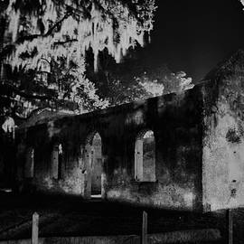Chapel Of Ease St. Helena Island At Night Black And White by Lisa Wooten
