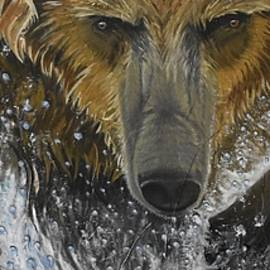 Charging Grizzly Bear by Marta Kazmierska