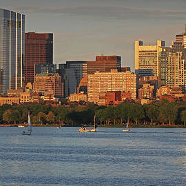 Juergen Roth - Charles River Sailboats with Boston Millennium Tower