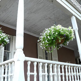 Charleston Historical District Front Porch Flowers - Charleston Homes Architecture - Kathy Fornal
