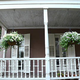 Charleston Historical Homes - Front Porches Hanging Summer Baskets of Flowers - Kathy Fornal