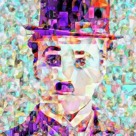 Wingsdomain Art and Photography - Charlie Chaplin The Tramp in Abstract Cubism 20170403