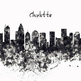 Charlotte Watercolor Skyline Black and White by Marian Voicu