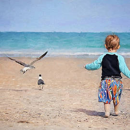 Chasing Birds On The Beach by Sharon McConnell