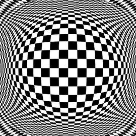 Checkerboard Op Art by Eleanor Bortnick