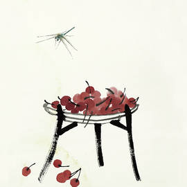 Qi Baishi - Cherry on the plate