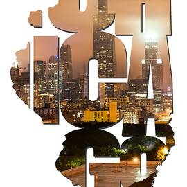 Gregory Ballos - Chicago Illinois Typography - Chicago Skyline From The Rooftop
