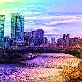 Thomas Woolworth - Chicago In November Chicago River South Branch PA Rainbow 02