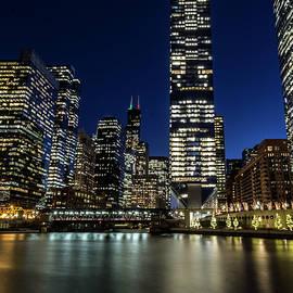 Sven Brogren - Chicago River and Skyline at dusk