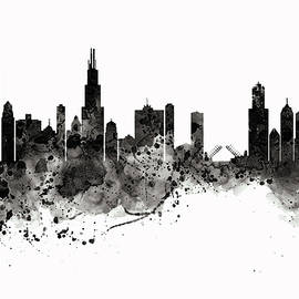 Chicago Skyline Black and White by Marian Voicu