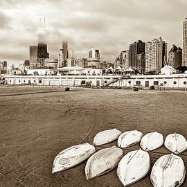 Gregory Ballos - Chicago Skyline From the Beach - Sepia