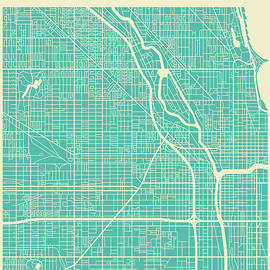 CHICAGO STREET MAP - Jazzberry Blue