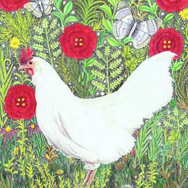 Chicken with Millefleurs and Butterflies  by Lise Winne