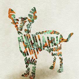 Chihuahua Watercolor Painting / Typographic Art - Ayse and Deniz