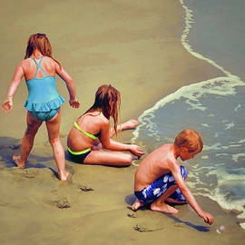 Sandi OReilly - Childrens Shell Hunting At The Beach