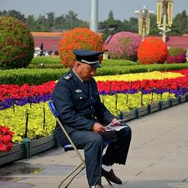 Imran Ahmed - Chinese security guard reads in front of flower display Beijing China