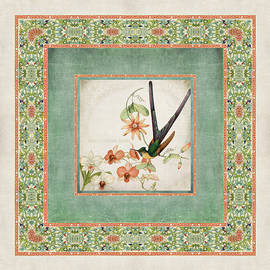 Chinoiserie Vintage Hummingbirds N Flowers 3 by Audrey Jeanne Roberts
