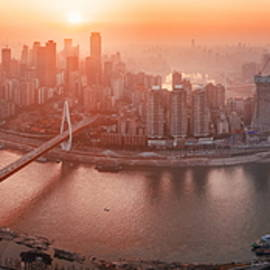 Chongqing Urban Architecture Sunset by Songquan Deng
