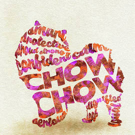 Chow Chow Watercolor Painting / Typographic Art - Ayse and Deniz