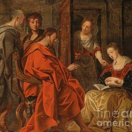 Circle of Jacob Jordaens - Christ in the House of Mary Martha and Lazarus