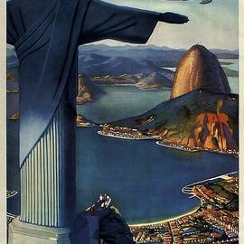Studio Grafiikka - Christ the Redeemer, Rio, Brazil - Pan American Airways - Retro travel Poster - Vintage Poster