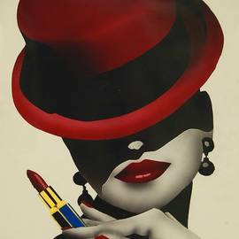 Christion Dior Red Hat Lady by Jacqueline Athmann
