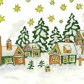 Christmas picture in green and yellow colours by Irina Afonskaya