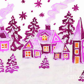 Christmas picture in pink colours by Irina Afonskaya