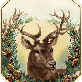 R Muirhead Art - Christmas vintage with deer