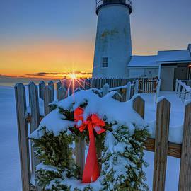 Christmas Wreath And Pemaquid Point by Rick Berk