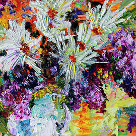 Chrysanthemums and Lilacs Still Life by Ginette Callaway