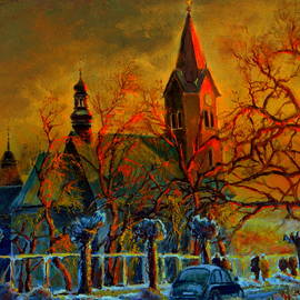 Church Winter Sunset by Henryk Gorecki