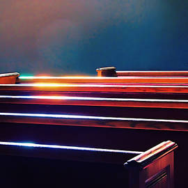 Churchlight -- Pews Under Stained Glass by Wendy J St Christopher