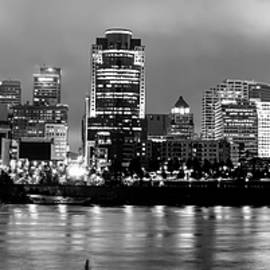 Gregory Ballos - Cincinnati Downtown Skyline Panorama Black and White